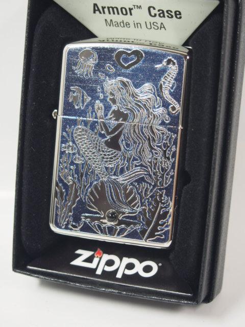 Zippo 打火机: Zippo 盔甲鱼玛瑙,天然石材的美人鱼 / / 刻蚀及印刷 / / 白色镍及蓝色盔甲定期 ☆ ♪ 美丽! ♪