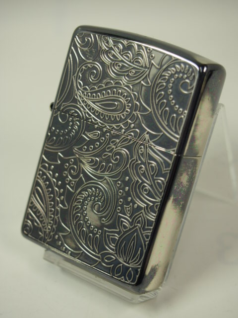 Zippo lighters: Zippo / antiques / silver / silver antique SV etching carved double-sided technology. fashionable! ♪