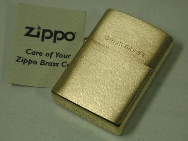 집포라이타: Zippo #204브러시 황동 프레인 Solid Brass 레귤러 놋쇠 번뇌에서 벗어나 깨끗함 금빛(골드) //각인 있어//이너도 골드!! ★프레인★