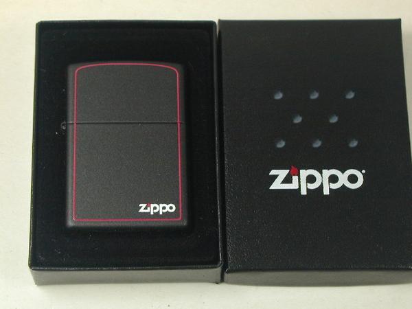 집포라이타: Zippo 블랙 매트#218 ZB레귤러 「빨강 라인」흑// Zippo 로고&Borde r //보더 USA☆멋쟁이!!☆