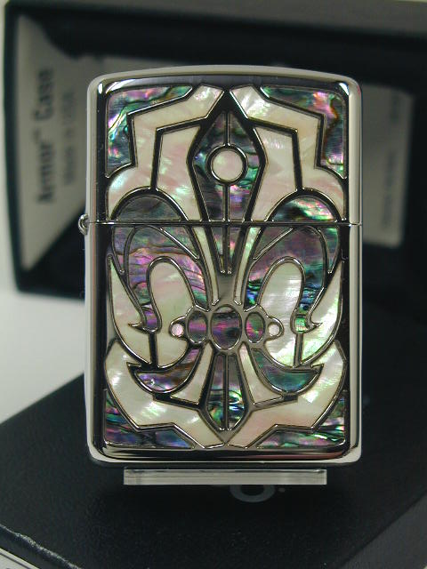 Zippo lighters: Zippo Grande / / Shell armor inlaid shell Grande / / Armor Grand Lily cross silver double-sided technology GRND-LLY gorgeous ☆ beautiful! ☆