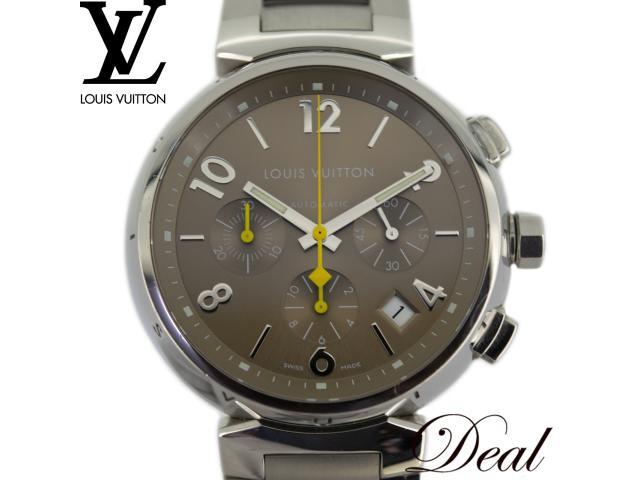 LOUIS VUITTON ルイヴィトン タンブールクロノ Q1122 新型ブレス 自動巻 メンズ 腕時計 LV SSベルト