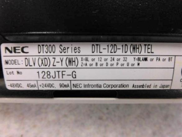 DTL-12D-1D(WH) TEL NEC AspireX DT300 12 button smart phone machine