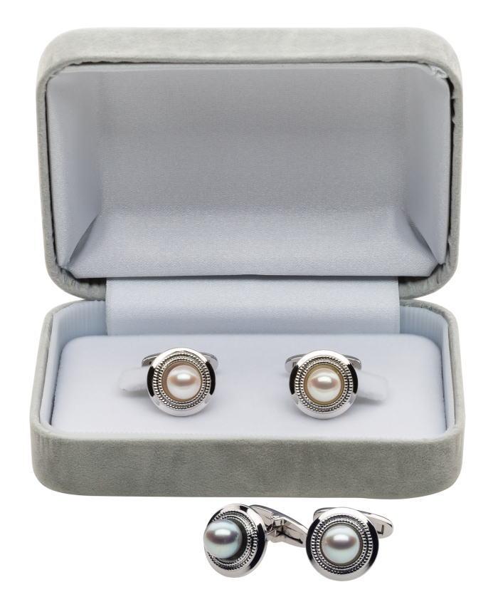EXCY 本真珠カフス3002/3003 ホワイトパールカフス ブラックパールカフス エクシィカフス シルバーカフス