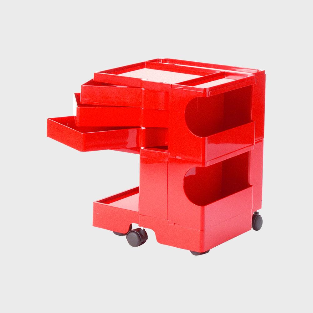 【100-2000円offクーポン】【正規保証2年】 boby wagon/ボビーワゴン 2段3トレイ 赤 [キャスタ付きワゴンはboby wagon ボビーワゴン 2段3トレイ]