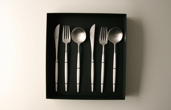 Cutipol CTI pole / cutlery /GOA White x silver / 6-piece set