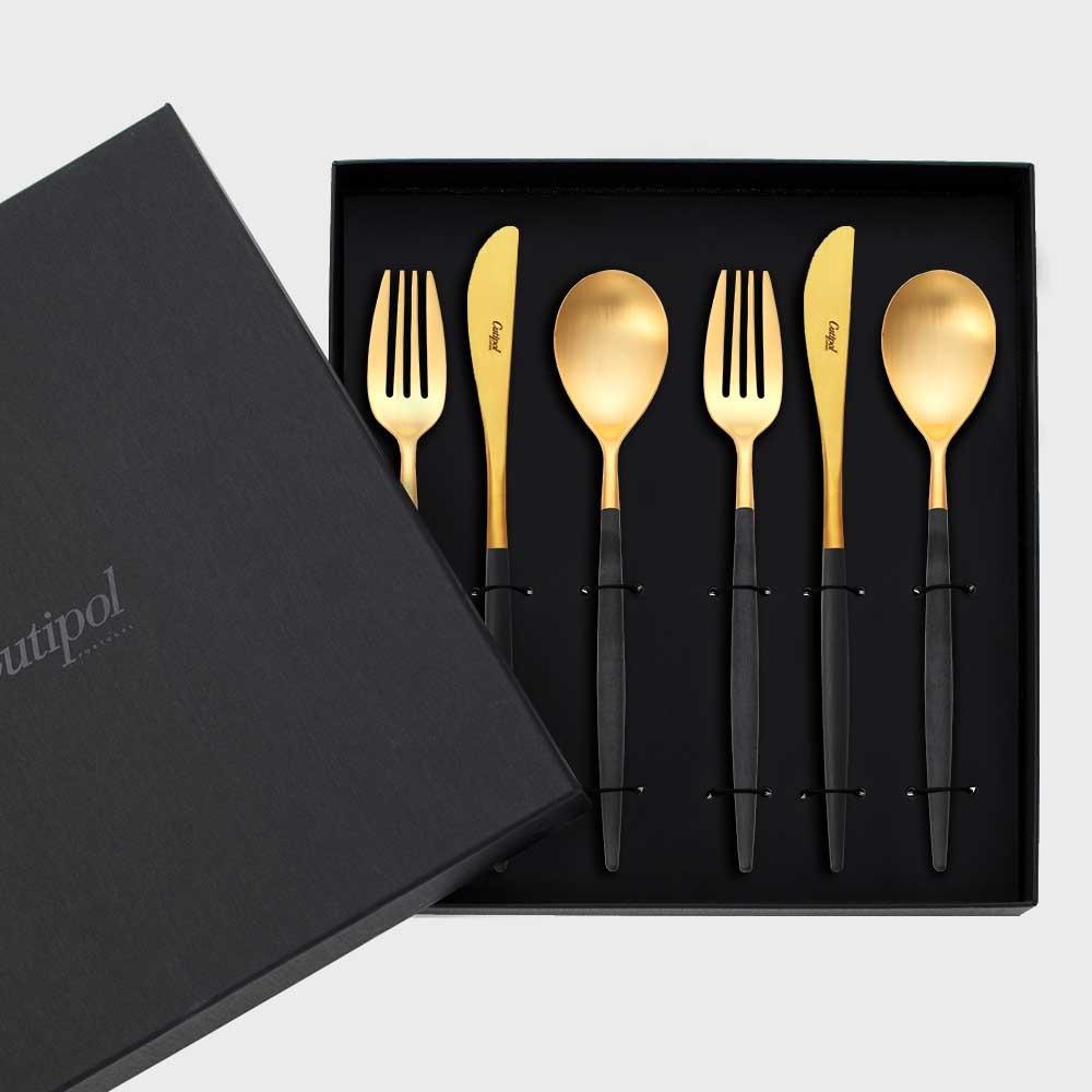 Cutipol クチポール MIO ディナー6本セット ブラック×ゴールド black×gold