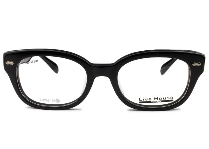 ライブハウス Live HouseLHV26-103 c.5 53 ブラック太め メガネ めがね 眼鏡 メンズ レディース 新品 送料無料