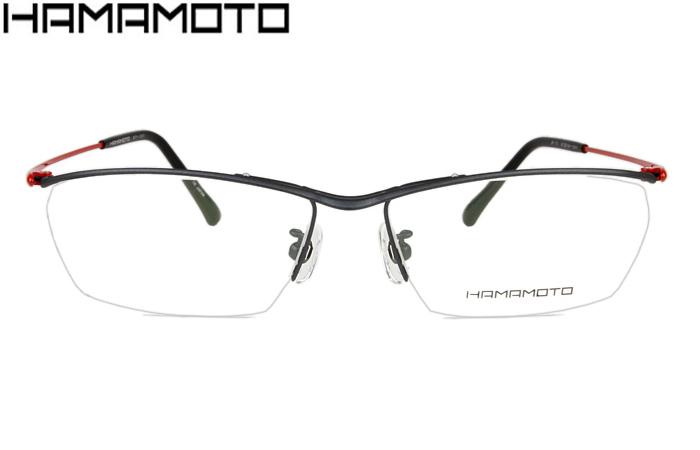 ハマモト フレーム HAMAMOTO HT-107 c.3 ブラックマット/レッド メガネ めがね 眼鏡 伊達 新品 送料無料 ht053