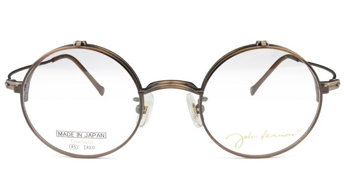 ジョンレノン John Lennon JL-1076 c.1 アンティークブラウン 跳ね上げ ボストン メガネ 新品 送料無料