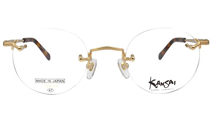 ヤマモトカンサイ KANSAI YAMAMOTO ツーポイント メガネ 眼鏡 めがね 新品 送料無料 ゴールド ky-2030 c.1