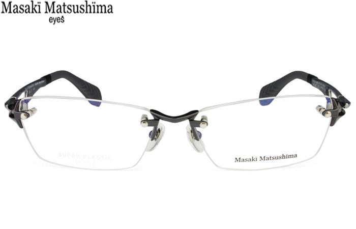 やや吊り上がり気味のシャープでクールなアイシェイプのリムレスモデル。 58サイズ マサキマツシマ Masaki Matsushima mfs-122 c.2 ガンメタル/メタリックグレー ツーポイント メガネ 眼鏡 新品 送料無料