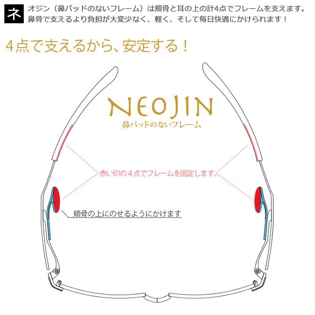 ネオジン NEOJIN 鼻パッドなしメガネ サイドパッド メガネ 眼鏡 新品 老眼鏡 遠近両用  ブラック nj5004 c.10