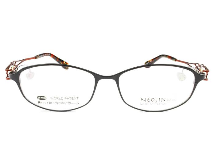 ネオジン フレーム NEOJIN nj1201 c.40 ブラック/レッド 鼻パッドなし メガネ サイドパッド ない メガネ めがね 眼鏡 レディース 新品 送料無料