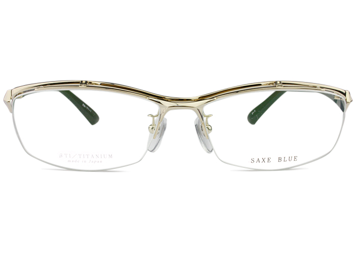 ザックスブルー SAXE BLUE sb-7111 c.1 ゴールド 跳ね上げ メガネ 眼鏡 伊達 鼻パッド 遠近両用 軽量 新品 送料無料