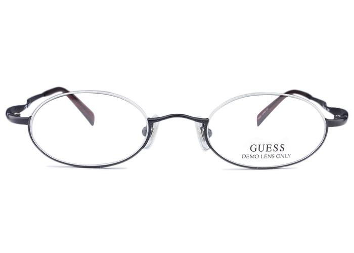■ゲス GUESS■gu-487 blk k ブラック/レッド■アンダーリム メガネ めがね 眼鏡■伊達 度付き メンズ レディース 新品 送料無料