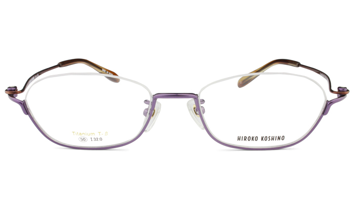 ヒロココシノ HIROKO KOSHINO hk-1136 c.2 パープル/ブラウン アンダーリム メガネ 眼鏡 めがね 伊達 新品 送料無料 kh2