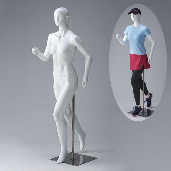 全身マネキン レディース 9号 ジョギング ランニングのポーズ FRP樹脂製 ウエストリフトタイプ ホワイト EXN-3-63-1【代金引換不可】【北海道・沖縄・離島送料別途】