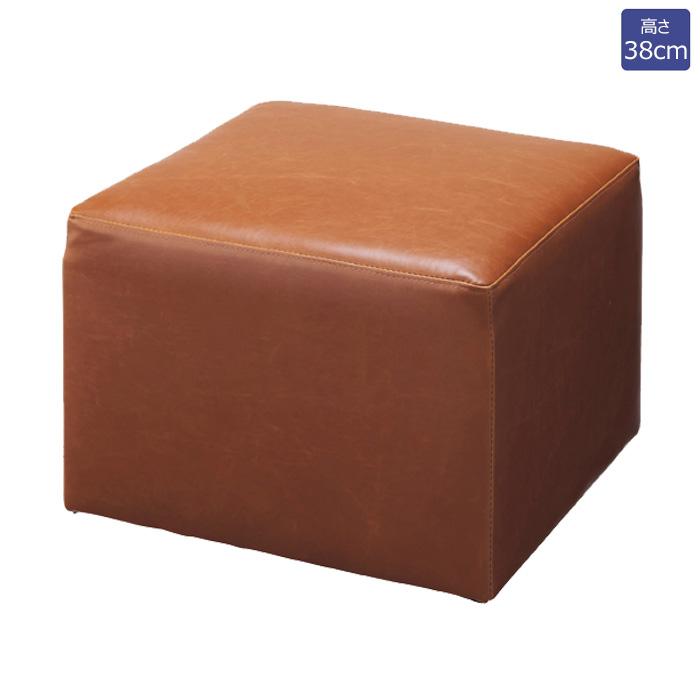 キューブ型ソファ キューブスツール 合成皮革張り 幅55cm ブラウン EX6-433-44-3【代金引換不可】【北海道・沖縄・離島送料別途】