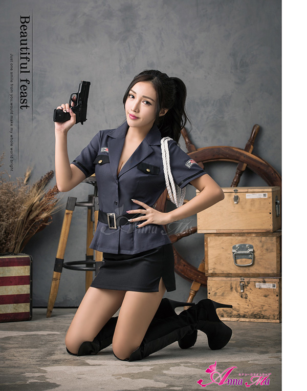 Three Points Of Costume Play Police Sexy Mini Ska Police Police Officer  Clothes Uniform Woman Halloween Costume Set Z676 Black Costume Play Clothes  Adult ...