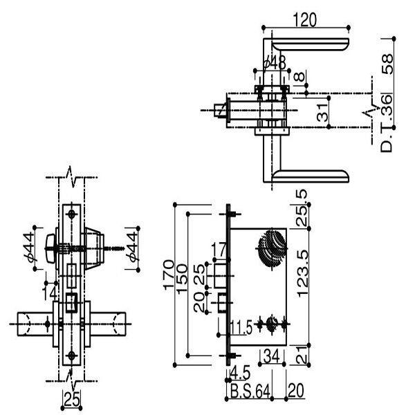 YKKAP 堀込型レバーハンドル錠 HH-3K-11785