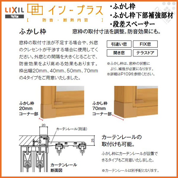 インプラス オプション ふかし枠 20・40・50mm W2000×H1900mm 下部補強材 段差スペーサー LIXIL/TOSTEM インプラス本体と同時購入でこの商品は送料無料