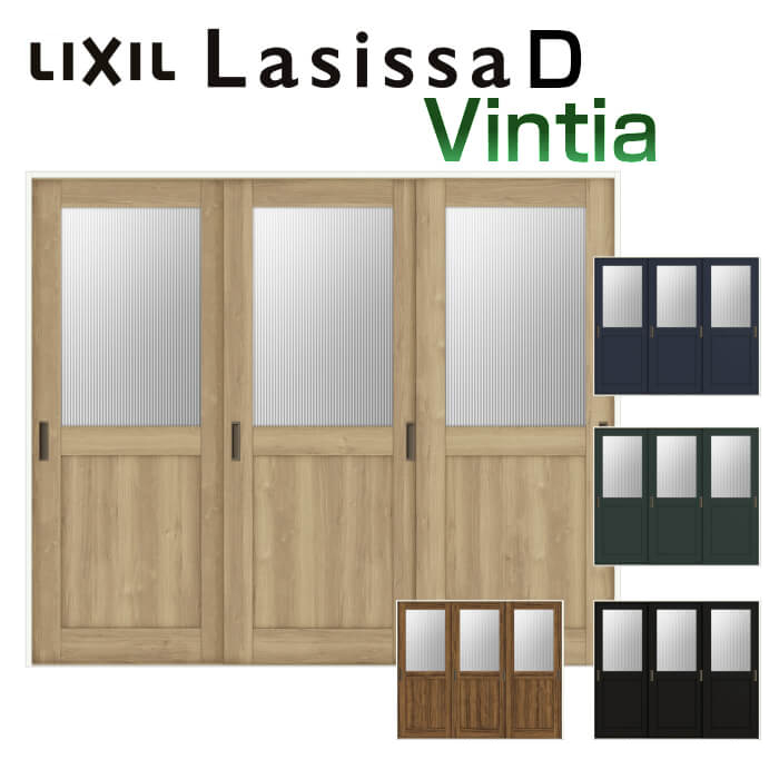 on sale 9e64c 9e99a Three pieces of indoor sliding door making a slip in drawing doors-built V  rail method ラシッサ D Vin tear glass type LGH non casing frame 2420 W2432 X ...