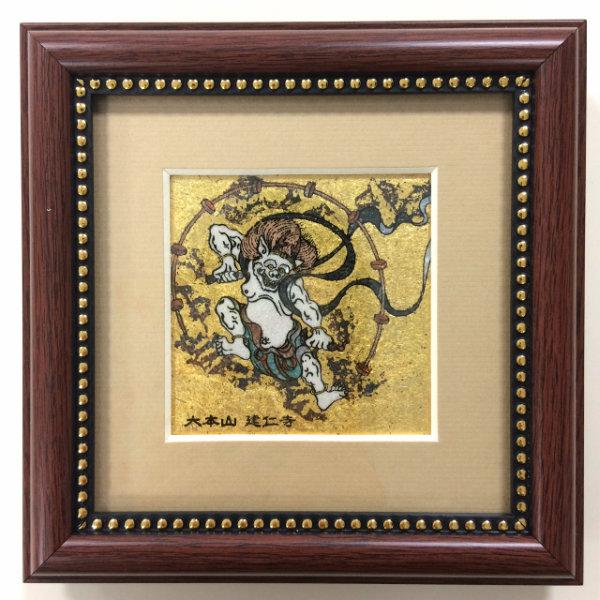 ジュエリー絵画® ジャポニズム 俵屋宗達 「雷神 RA1」 正方形 SSサイズ 7.62×7.62cm インテリア壁飾り 新築 リフォーム お祝い プレゼント 記念品 額入りハンドメイド 宝石で作った絵画