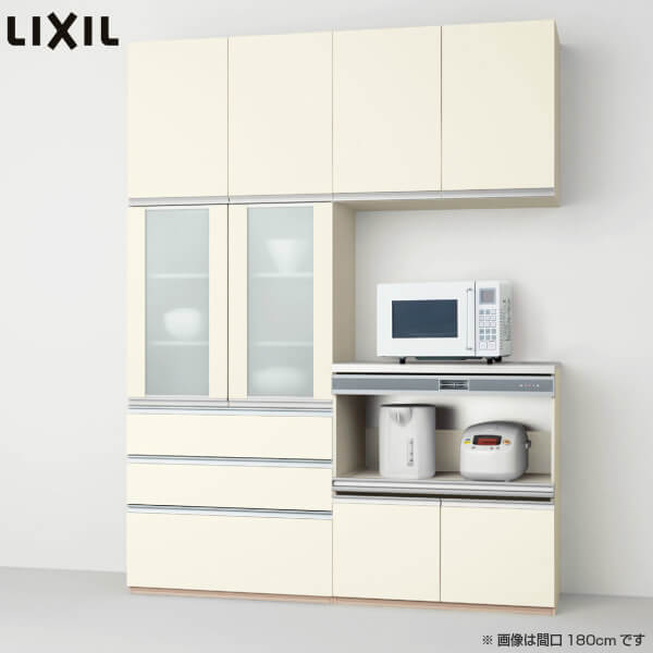 食器棚 キッチン収納 LIXIL/リクシル システムキッチン シエラ 収納ユニット 壁付型 カップボード+ハイフロアプラン スライドストッカー+家電収納(蒸気排出用) S4004 間口幅180/150cm W1800/1500mm グループ2