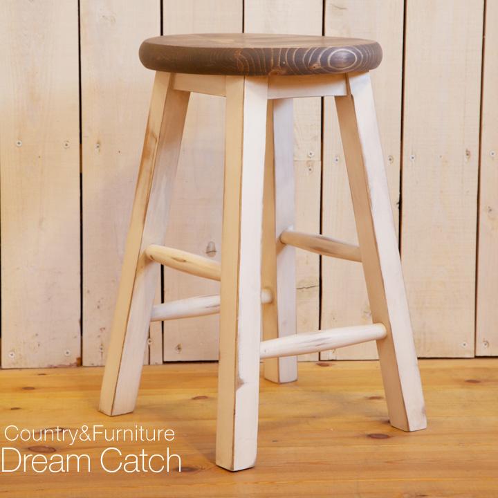 [カントリー家具] ナチュラルスツール45 アンティークホワイト仕上げ  /パイン材/スツール/椅子/チェアー/アンティーク風(キャンペーン除外品) [完成品]