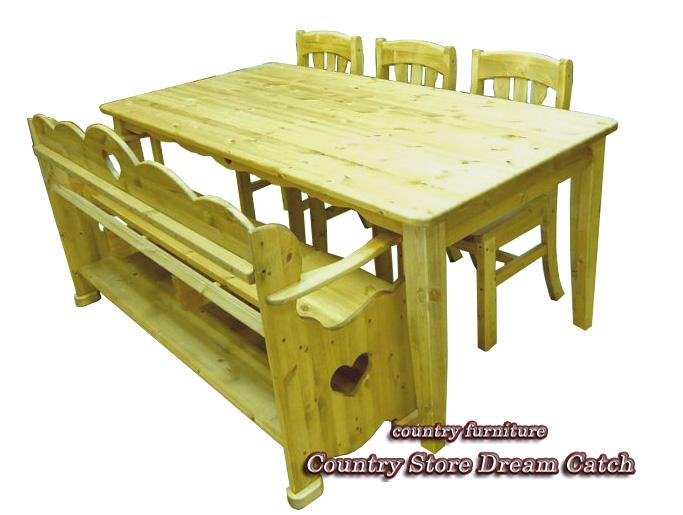 [カントリー家具]ダイニングテーブル5点セットW1800【送料無料】パイン家具 テーブル 食卓テーブル[完成品]木製 ナチュラル カントリーテイスト フレンチカントリー モダン 無垢