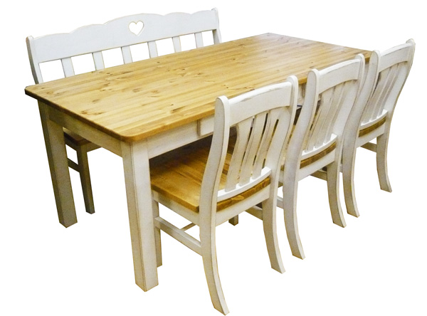 [カントリー家具] アンティーク風ダイニングテーブル5点セットW1800【送料無料】パイン材 テーブル 食卓テーブル[完成品]木製 ナチュラル カントリーテイスト フレンチカントリー モダン 無垢