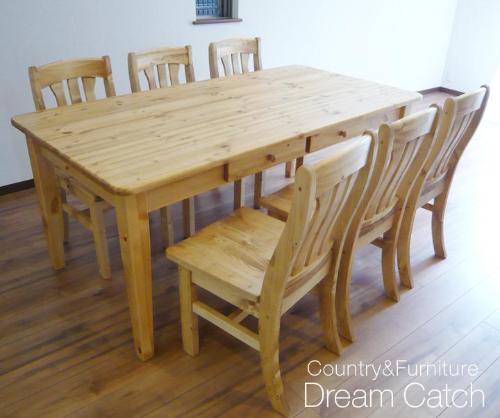 [カントリー家具] ダイニングテーブル7点セットW1800【送料無料】食卓テーブル [完成品]木製 ナチュラル カントリーテイスト フレンチカントリー モダン 無垢