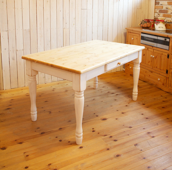 [カントリー家具] ラスティックダイニングテーブル W1500TWO【送料無料】アンティーク調 パイン材 テーブル 食卓テーブル(キャンペーン除外品)ナチュラル ナチュラル [完成品] 北欧