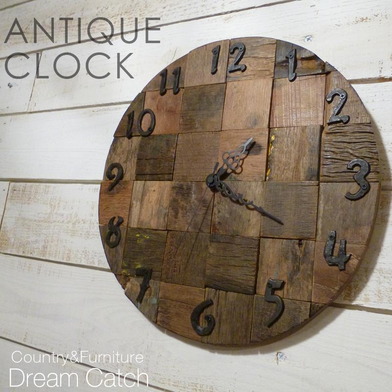 [アイアン雑貨]アイアン アンティーククロック(壁掛け時計)【送料無料】古材を使った時計 引っ越祝いのギフトにも最適![完成品]レトロ ロンハーマンテイスト カントリー おしゃれ 西海岸インテリア