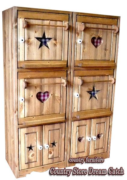 [カントリー家具]ブックキャビネットスタンド(本棚)【送料無料】ハートスターのキャビネット[完成品]木製 ナチュラル カントリーテイスト フレンチカントリー モダン 無垢