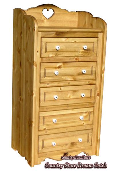[カントリー家具 収納] チェストS(タンス)【送料無料】[完成品]木製 ナチュラル カントリーテイスト フレンチカントリー モダン 無垢