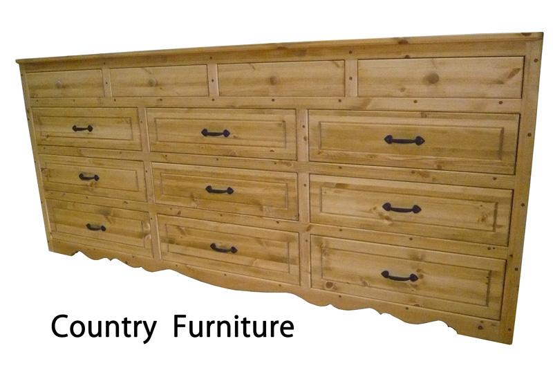 [カントリー家具 収納] チェストロングL(タンス)【送料無料】パイン家具[完成品]木製 ナチュラル カントリーテイスト フレンチカントリー モダン 無垢