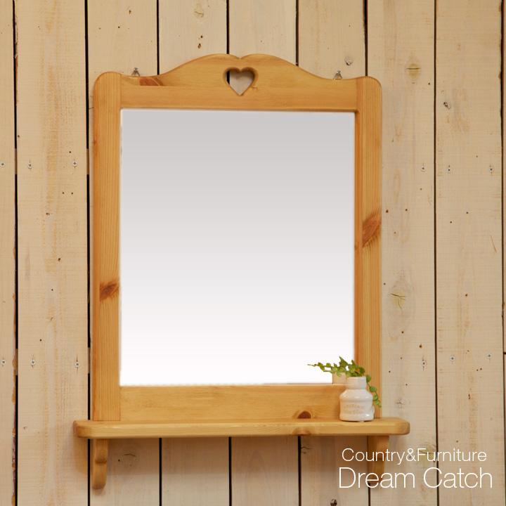 [カントリー家具 収納 ラック] ミラーシェルフ(洗面化粧台・ドレッサー)。【送料無料】鏡[完成品]木製 ナチュラル カントリーテイスト フレンチカントリー モダン 無垢