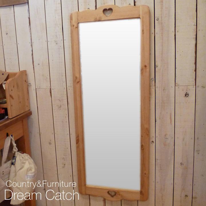 [今だけ10%OFF][カントリー家具]壁掛けミラー(姿鏡)【送料無料】ロングミラー[完成品]木製 ナチュラル カントリーテイスト フレンチカントリー モダン 無垢