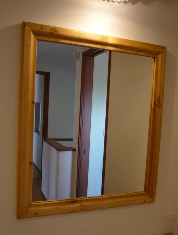 [カントリー家具]シンプルミラー(洗面化粧台・ドレッサー)【送料無料】パイン材 ミラー 鏡 [完成品]木製 ナチュラル カントリーテイスト フレンチカントリー モダン 無垢