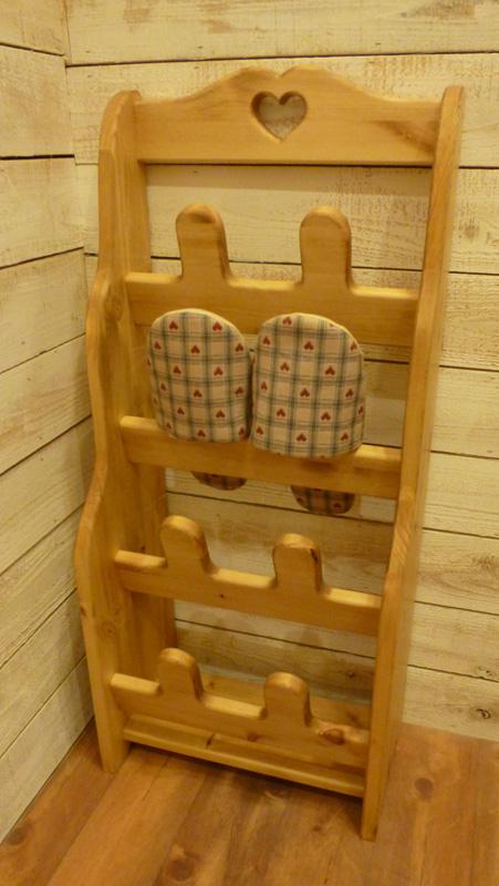 [カントリー家具]【送料無料】スリッパラック(置き型) [完成品]木製 ナチュラル カントリーテイスト フレンチカントリー モダン 無垢