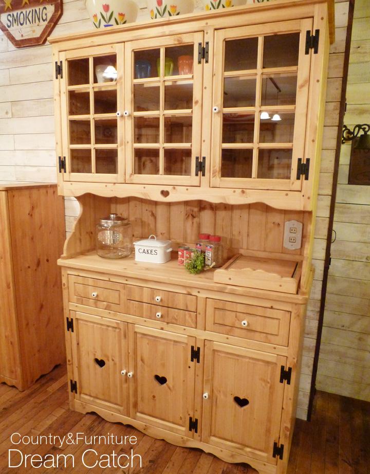 [カントリー家具 収納] カップボード(W1200)(食器収納 キッチン収納 食器棚)【送料無料】食器ボードキャビネット 木製 パイン材 [完成品]木製 ナチュラル カントリーテイスト フレンチカントリー モダン 無垢