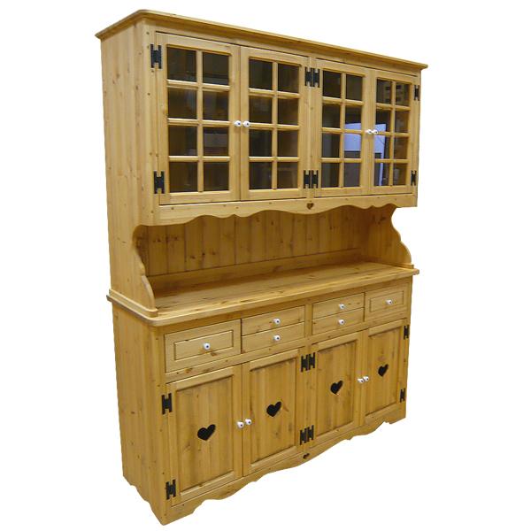 [カントリー家具 収納] カップボード【W1500】(食器棚)【送料無料】[完成品]木製 ナチュラル カントリーテイスト フレンチカントリー モダン 無垢