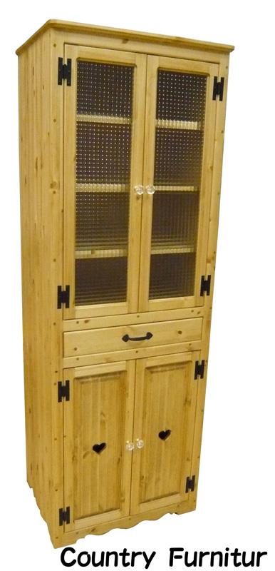 [カントリー家具] カップボードスリムW600(チェッカーガラス)【送料無料】キッチン収納 [完成品]木製 ナチュラル カントリーテイスト フレンチカントリー モダン 無垢