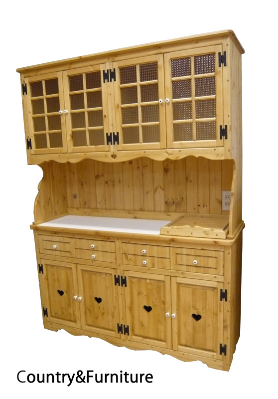 [カントリー家具]カップボードW1500(タイル貼り)(スライドレール付)【送料無料】[完成品]木製 ナチュラル カントリーテイスト フレンチカントリー モダン 無垢