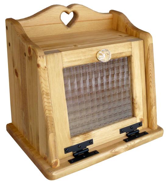 [カントリー雑貨]ブレッドBOX(チェッカーガラス)コスメケースにも!木製 ナチュラル カントリーテイスト フレンチカントリー モダン 無垢