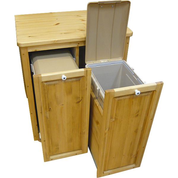 [カントリー家具 収納] キッチンダストBOX(分別式)(ゴミ箱キャビネット)【送料無料】[完成品]木製 ナチュラル カントリーテイスト フレンチカントリー モダン 無垢