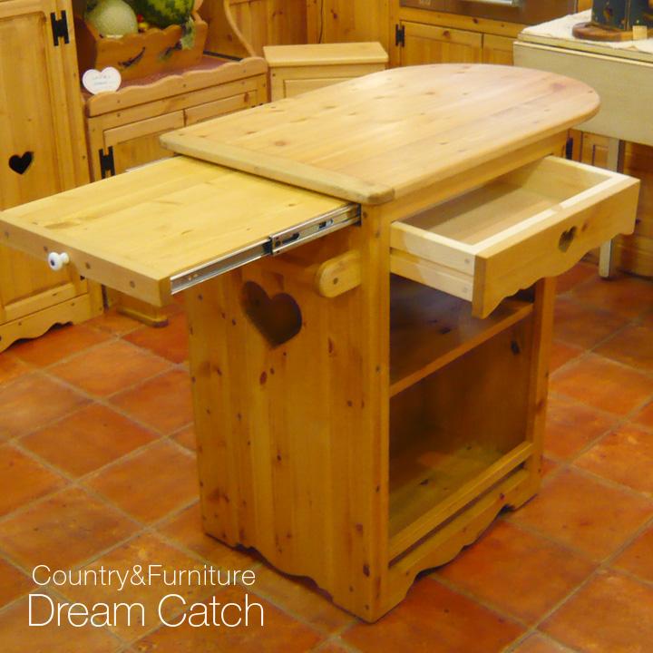 [カントリー家具]キッチンワゴン(キャスター付)【送料無料】[完成品]木製 ナチュラル カントリーテイスト フレンチカントリー モダン 無垢