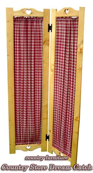 [カントリー家具] パーテーション2連 /パイン材/木製家具/間仕切り/布扉/スクリーン/パーテーション/リビング家具[完成品]木製 ナチュラル カントリーテイスト フレンチカントリー モダン 無垢